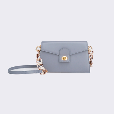 High quality leather handbag with acrylic chain