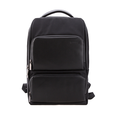 Mens Big Space PU Polyester Black Computer Backpack